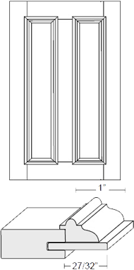 Cabinet Door: Appl Mldg Split Veneer Panel (M7 Bead)
